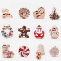 Vinnie Design Jewelry Christmas Series Slide Charms fit on 10mm Keeper Stainless Steel Mesh Wrap Bracelets 12pcs/lot