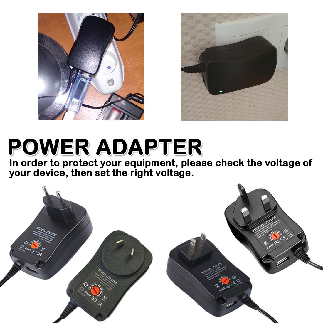 <font><b>3V</b></font> 4.5V 5V 6V 7.5V 9V <font><b>12V</b></font> 250mA <font><b>AC</b></font> <font><b>DC</b></font> Adapter Adjustable Universal Charger Supply for led light strip lamp 30W image