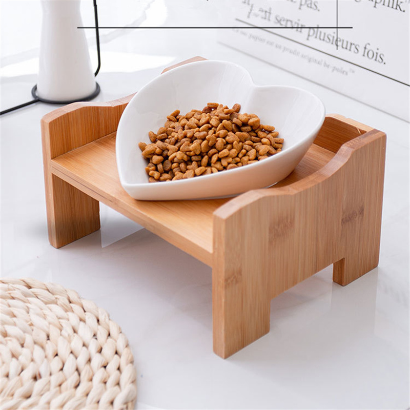 New Heart Shape Pets Bowl Dog Cat Food Water Feeder Stand Raised Ceramic Dish Bowl Wooden Table Pet Supplies