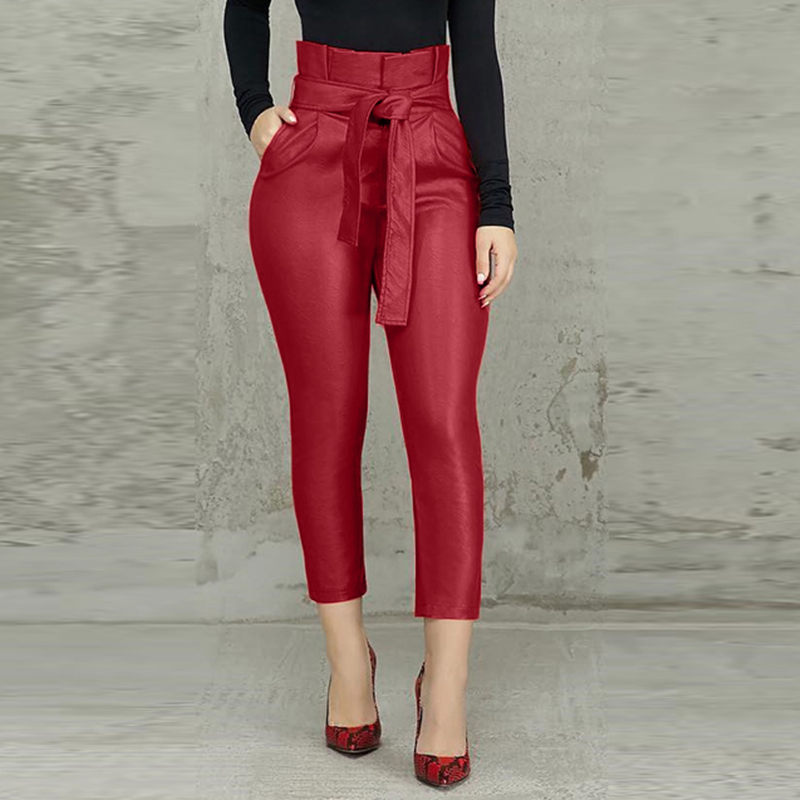 Fashion Stretch PU Leather Pants Women's High Waist Trousers 2020 ZANZEA Lace Up Front Zipper Long Pantalon Plus Size Turnip