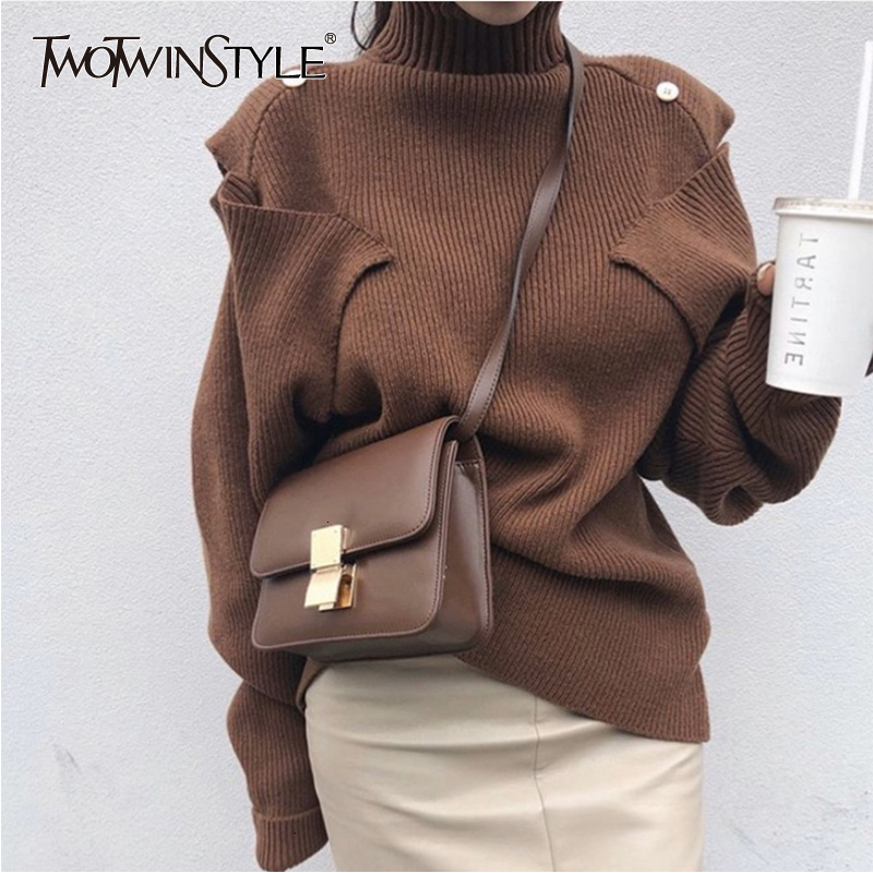 TWOTWINSTYLE Knitted Women's Sweater Turtleneck Long Sleeve Korean Oversized Pullovers Female 2019 Autumn Winter Fashion New