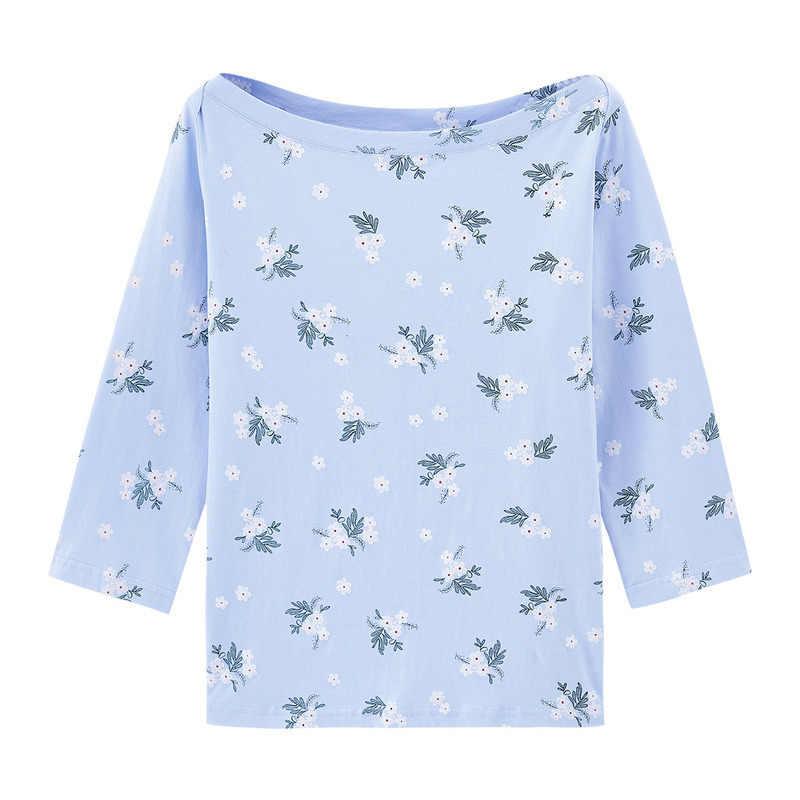 INMAN 2020 Autunno Nuovo Arrivo In Maglia Singolo sacchetto di Spalla Floreale Allentato Cotone Freshing Letterario T-Shirt Mezza Manica