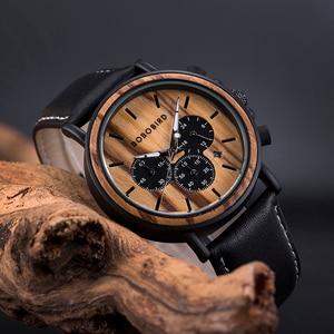 Image 4 - BOBO BIRD ไม้นาฬิกาผู้ชาย Relogio Masculino Luminous Luxury TOP ยี่ห้อ Chronograph นาฬิกา erkek Kol saati Drop Shipping