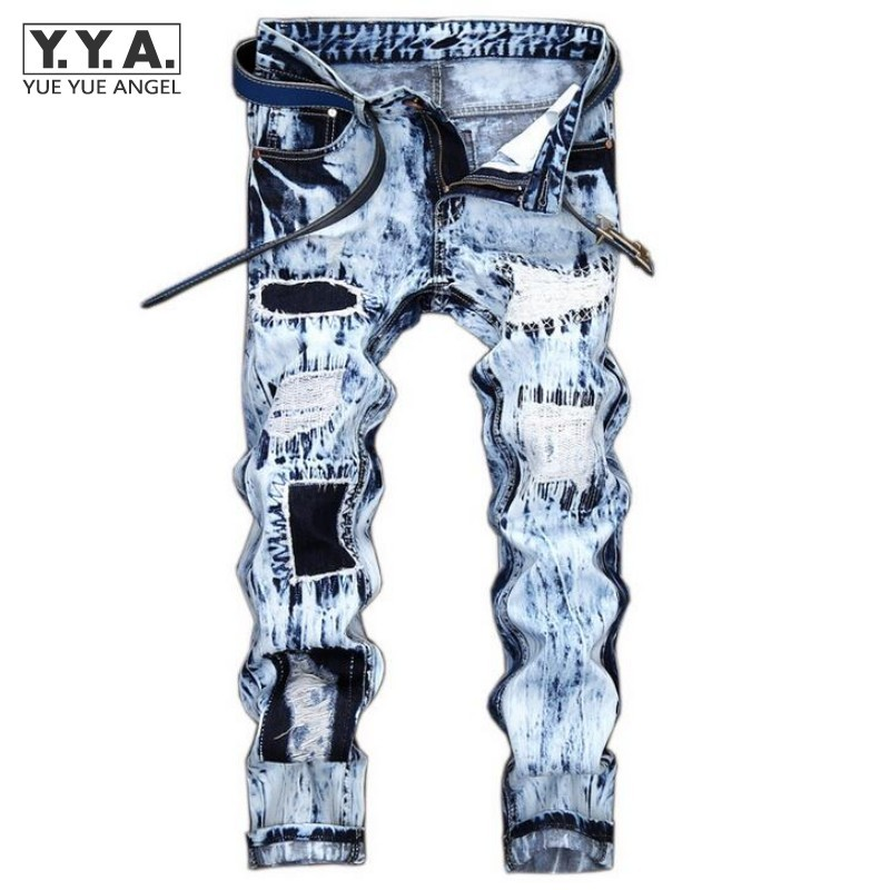 Hot Sale Mens Punk Jeans Distressed Hole Trousers For Man Patchwork Light Blue Male Jeans Washed Zipper Fly Homme Denim Pants