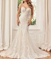 Robe de mariee Unique Lace Appliques Mermaid Wedding Dresses 2019 See Through Back Bride Dress Luxury Abiti da sposa