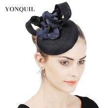 Ladies Navy Fascinator Hats Bride Wedding Hat And Fascinators For Women Elegant Church Hats Feather Hair Accessories 6PCS/LOT
