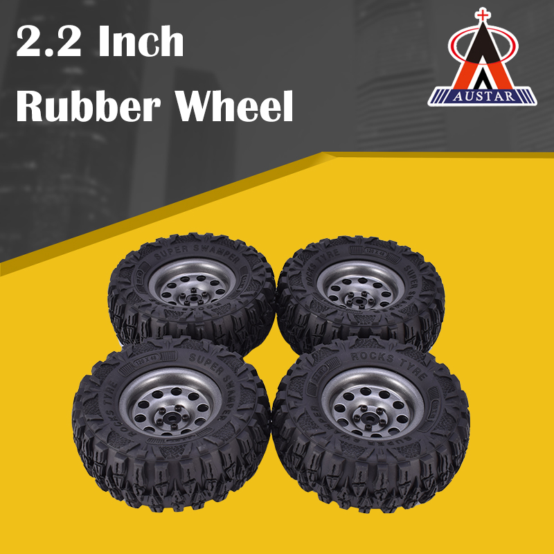 4PCS 2.2 Inch Rubber Tyres & Black Metal Beadlock Wheel Rim for 1:10 Axial SCX10 Traxxas TRX-4 RC Rock Crawler RC Car(China)