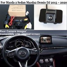 Câmera de visão traseira do carro para mazda 2 sedan mazda2 demio dj 2015 2020 28 pinos adaptador cabo compatível com tela original hd ccd