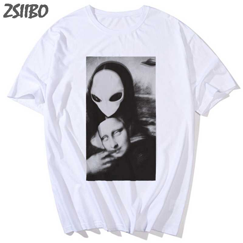 男性の tシャツモナリザ地球外なる顔おかしいプリント原宿ユニセックス半袖 tシャツ男性ストリート Tシャツ