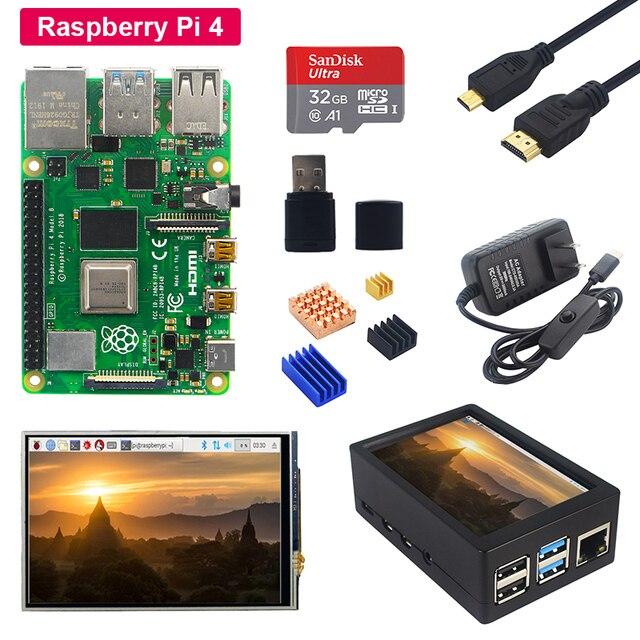 Raspberry Pi 4 Model B + 3.5 calowy dotykowy ekran lcd + etui z abs + zasilacz + karta SD + radiator dla Raspberry Pi 4