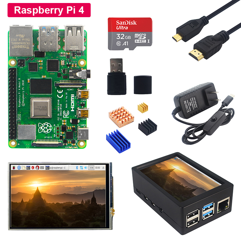 Raspberry Pi 4 Model B + 3.5 Inch Touch LCD Screen + ABS Case + Power Supply + SD Card + Heat Sink For Raspberry Pi 4