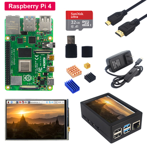 Raspberry Pi 4 Model B + 3.5 inch Touch LCD Screen + ABS Case + Power Supply + SD Card + Heat Sink for Raspberry Pi 4(China)