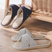 Home Slippers Shoes Platform Men Summer Unisex Indoor Thick Flax Low-Heels Living-Room