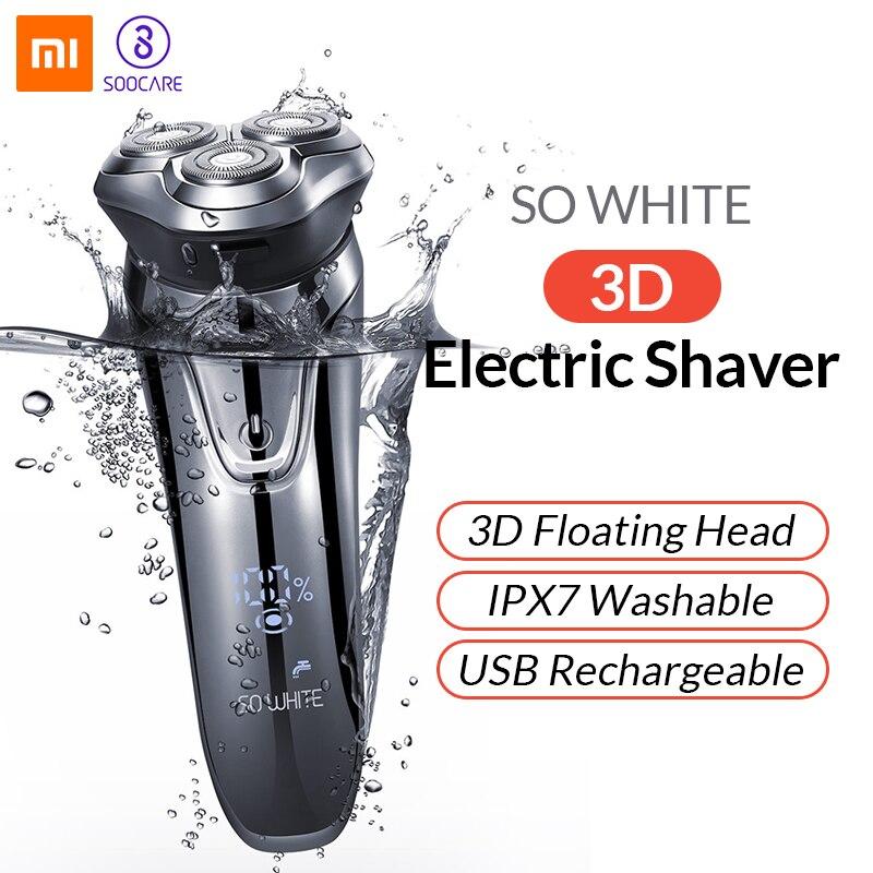 Original Soocas TÃO BRANCO IPX7 3D Barbeador Barbeador Elétrico Sem Fio Xiaomi USB De Carregamento Inteligente Proteção de Bloqueio À Prova D' Água para Os Homens
