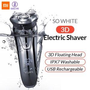 Image 1 - Soocas Original si blanc sans fil 3D rasoir électrique Smart USB charge IPX7 étanche blocage Protection pour les hommes
