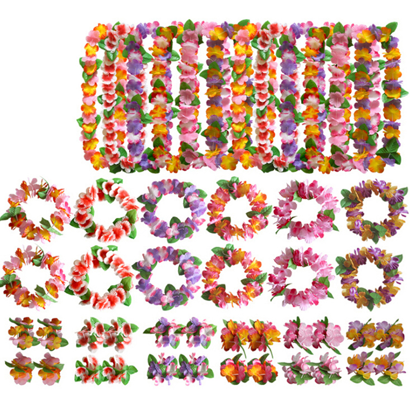 4pcs/Set Fancy Dress Artificial Hawaiian Flower Leis Garland Necklace Party Hawaii Beach Fun Flowers DIY Party Decor Decoration