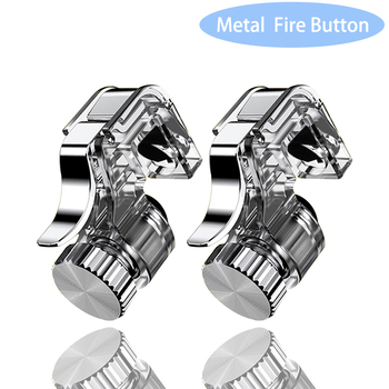 2pcs Metal Smart Phone Mobile Gaming Trigger Joystick for PUBG Mobile Gamepad Fire Button Aim Key L1R1 Shooter Pubg Controller m24 abs gaming trigger fire button mobile phone shoot controller universal phone gamepad trigger gaming parts