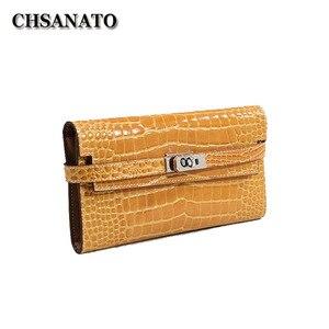 CHSANATO nowy wzór krokodyla skóra bydlęca kobiety długi portfel klasyczny styl Lady Girls torebka damska etui na telefony