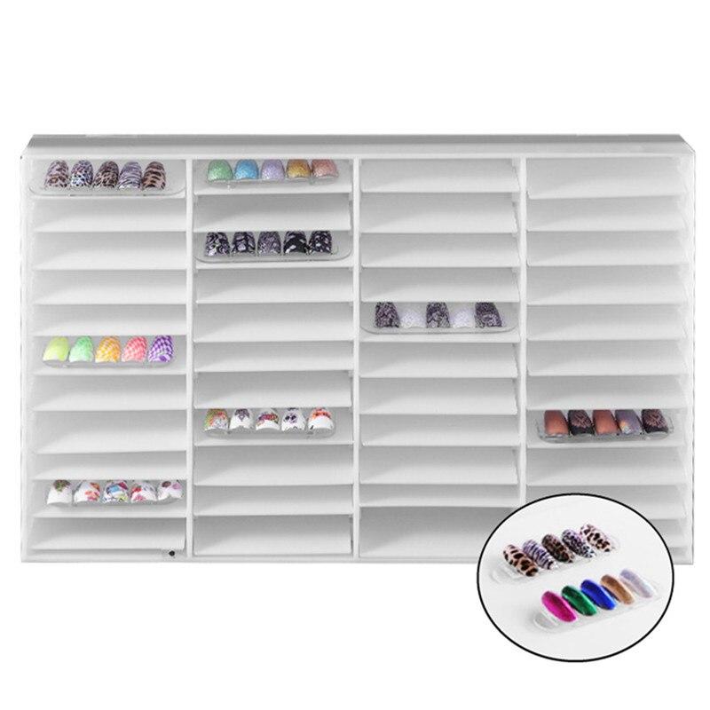 Nail Gel Polish Color Display Case Fake Nail Tips Storage Box 44 Compartments Nail Art Decoration Container False Nail Display