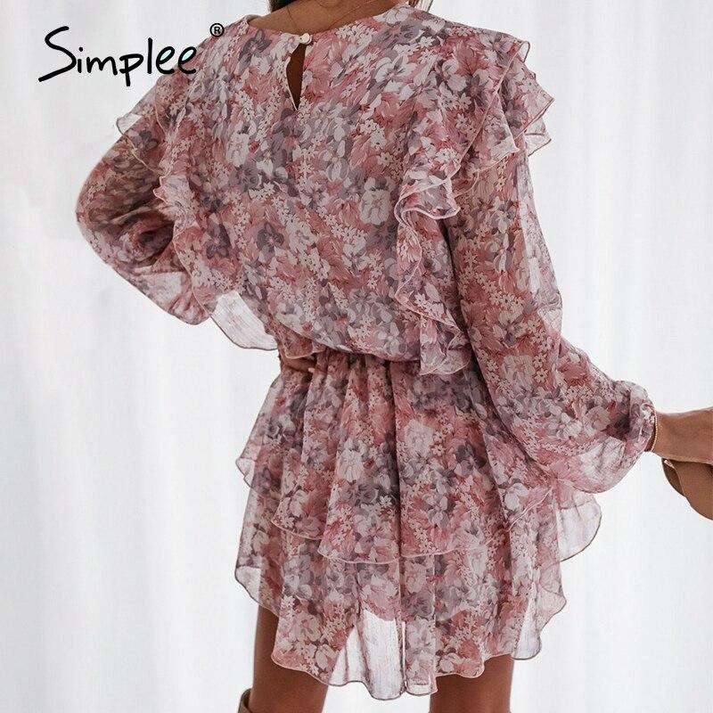 Simplee women floral print dress Elegant puff sleeve a line chiffon sash dress High waist work