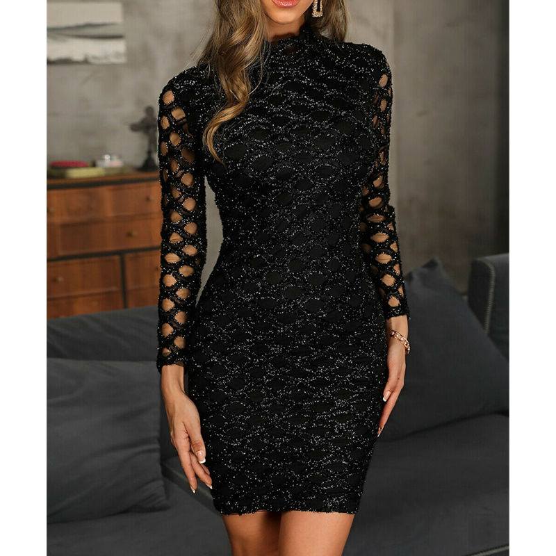 Women Sleeveless Mini Dress Sparkle Sequins European And American Style Jersey Stretch Casual Dress Hollow Sleeve Dresses