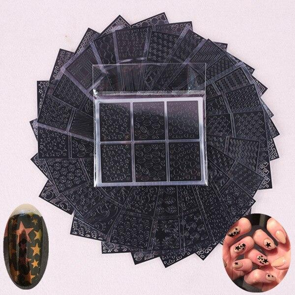 Стикер для ногтей черный и белый с узором лазер выдолбленные переводные наклейки на ногти 3D стикер s Маникюр выдолбленный смешанный-24-Set