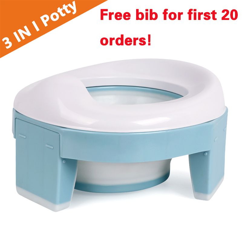 TYRY.HU Baby Pot Portable Silicone Baby Potty  Training Seat 3 in 1 Travel Toilet Seat Foldable Blue Pink Children Potty | Happy Baby Mama