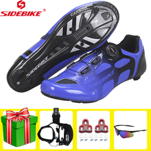 SIDEBIKE Cycling Shoes Road Carbon Fiber Sole Men Sneakers Ultralight Self-Locking Men Bike Bicycle Racing Athletic Bike Shoes