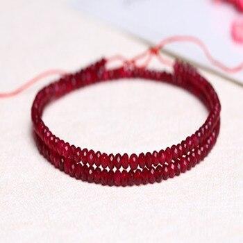 """Rubí redondo facetado 2*3mm rojo 14 """"para DIY, fabricación de joyas, cuentas sueltas FPPJ, venta al por mayor, piedra preciosa natural"""