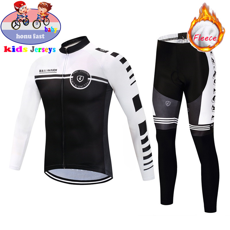2020 Kids Winter Thermal Fleece Set Cycling Jersey set Children Jersey Suit Sport Riding boy Bike MTB cycling Clothing Warm Set