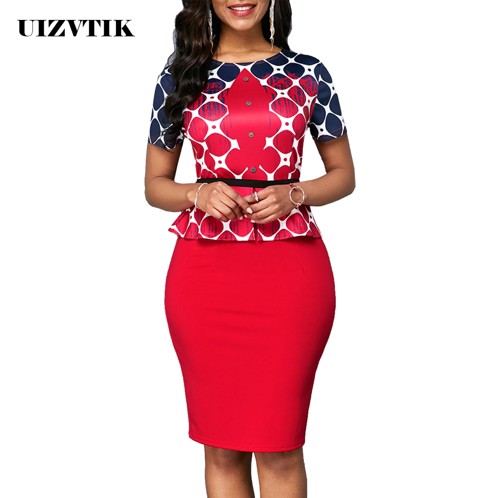 Autumn Winter Dress Women 2019 Casual Plus Size Slim Print Office Bodycon Dresses Elegant Sexy Bandage High Split Party Dress