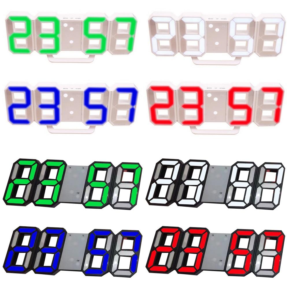 8 Colors 3D Digital Table Clock Wall Clock LED Nightlight Date Time Celsius Display Alarm USB Snooze Home Decoration Livingroom