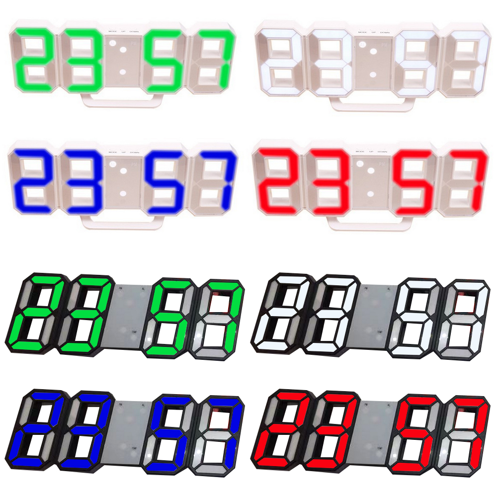 8 Colors 3D Digital Table Clock Wall Clock LED Nightlight Date Time Celsius Display Alarm USB Snooze Home Decoration Livingroom image