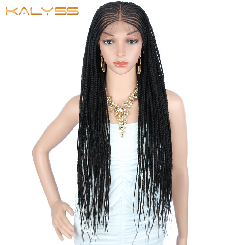 Kalyss 34 Inches 13x6 Braided Wigs Synthetic Lace Font Wig For Black Women Braids Twist Wig With Baby Hair For White Women