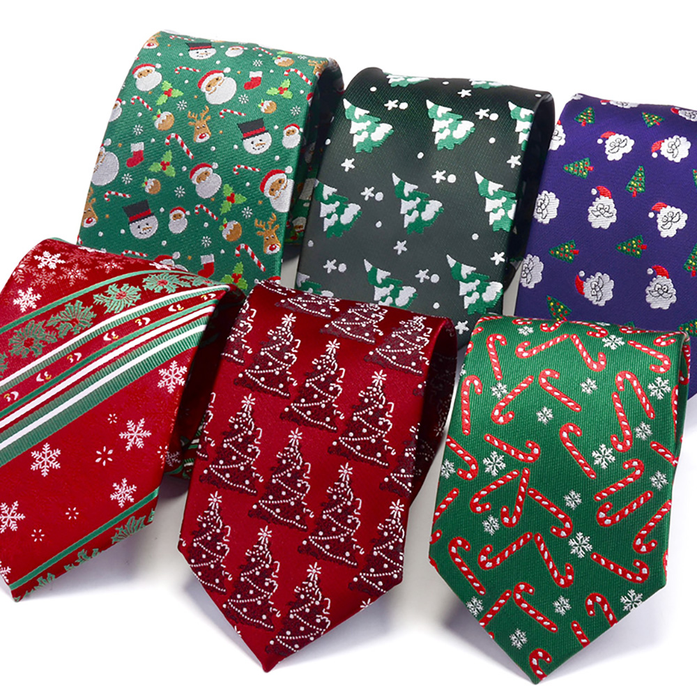 Ricnais 2019 Fashion 8cm Silk Christmas Tie Green Red Snowman Tree Santa Claus Jucquard Necktie For Men Gift Festival Party Ties