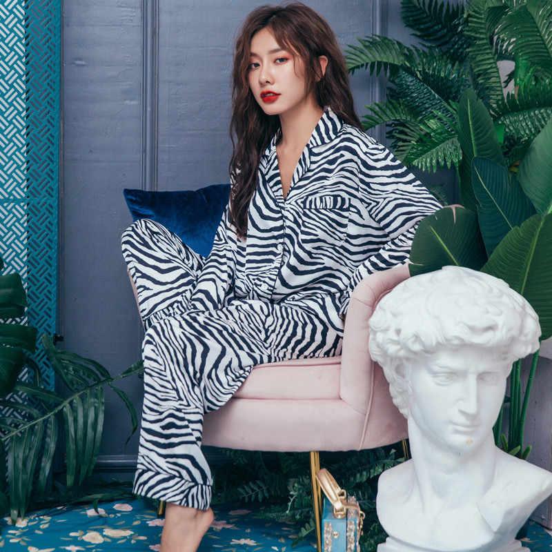 2019 İlkbahar Sonbahar Kadın Ipek Pijama Seti Uzun Kollu Pijama Pijama Kadın Uyku Salonu 2 Parça Saten Loungewear Pijama