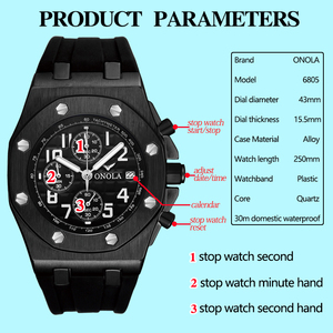 Image 5 - 2019 ONOLA Luxury brand Fashion Sports Military Mens Watches Wristwatch clock metal Waterproof multifunctional quartz watch Men