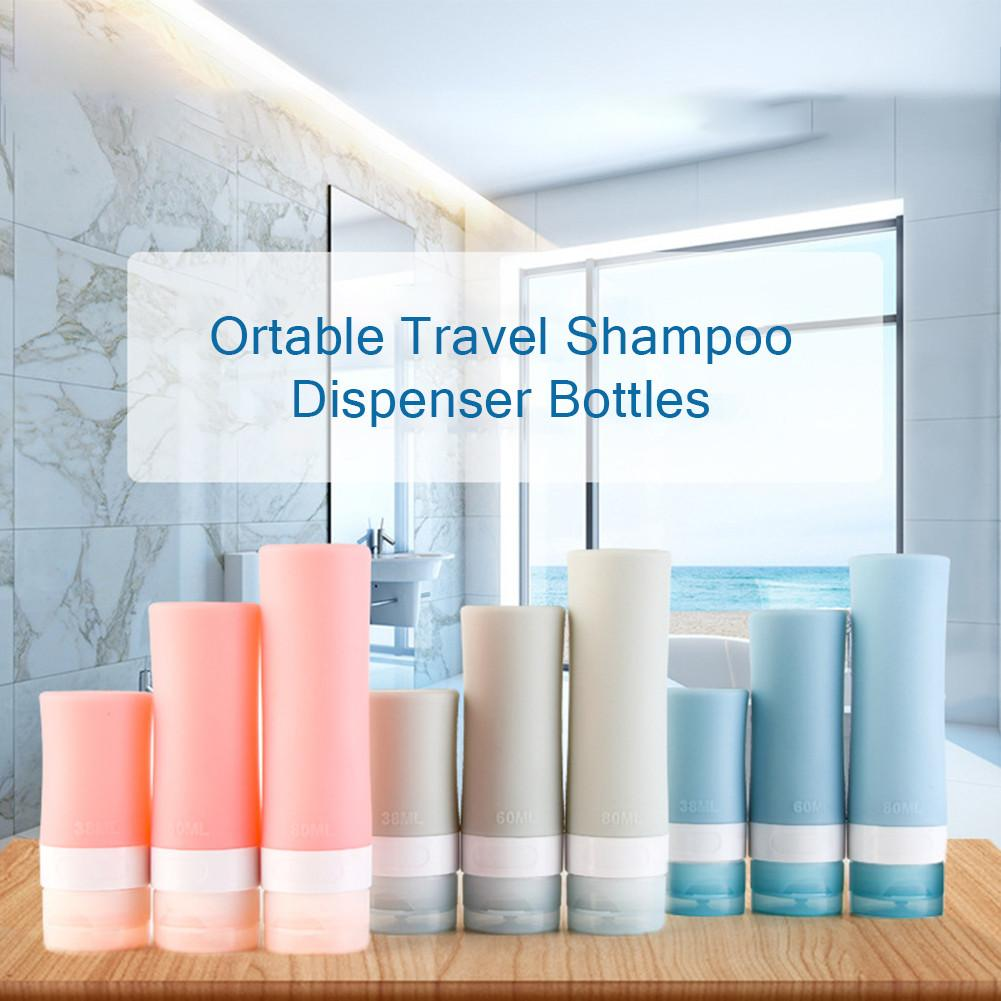 3PCS Portable Travel Shampoo Dispenser Bottles Silicone Cosmetic Bottling Container Squeezable Tube Set