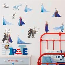 Cartoon Elsa Anna Princess Wall Decals Kids Rooms Home Decor  Disney Frozen Stickers Diy Posters Pvc Mural Art