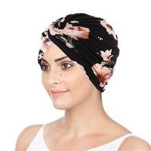 Feminino muçulmano algodão turbante dobrável cruz atada fita de cabelo cachecol cabeça elástica envoltório headwear bandanas senhora chapéus de cabelo beanie