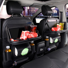 Leather car seat storage bag folding dining table back trash can
