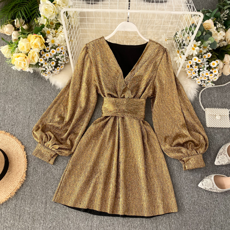 Spring Autumn Women's Bright Color Dress  V-neck Lantern Sleeve Gold Bright Silk Lace Retro Dress Female Sexy Party Dress GD205