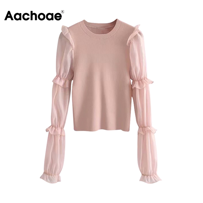 Aachoae Mesh Patchwork Knitted Pullover Women Ruffles Long Sleeve Fashion Sweater 2020 Ladies Casual O Neck Bodycon Jumper Tops