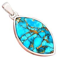 Genuine Blue Copper Turquoise Pendant 925 Sterling Silver, 43.6 mm, AP6406