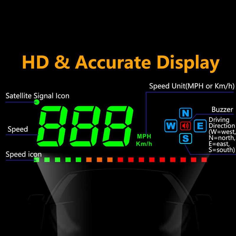 HUD 3.5 inch GPS Auto Head Up Display Snelheid Alarm Kompas Voorruit Projector Snelheidsmeter HUD via GPS Satellieten Auto HUD display