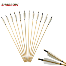12pcs Archery Wooden Arrow Shaft Comes With 5-inch shield-shaped White Turkey Feather Hunting Accessories