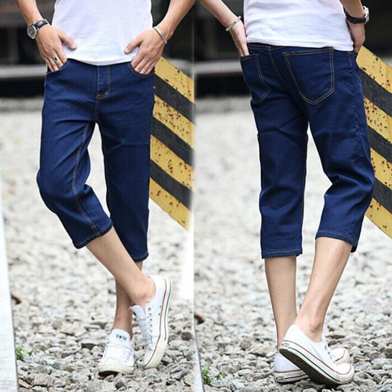 MEN'S Wear Ultra-Thin Cowboy Korean-style Summer Wear Cowboy Capris Men Capri Breeches Cowboy Capri Pants Men's