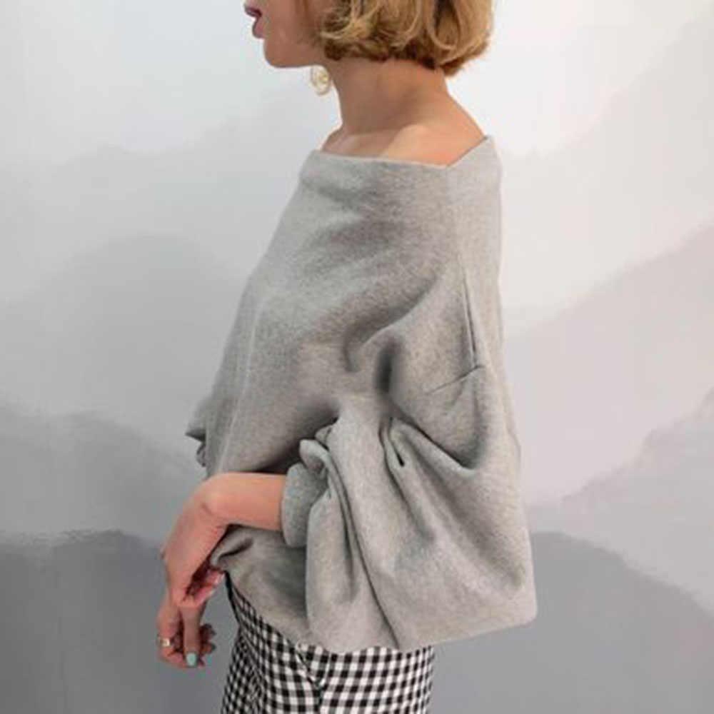 Tops con hombros descubiertos para mujer, Sudadera con capucha básica sexi de manga larga de otoño 2019 para oficina, jerséis holgados grises informales minimalistas