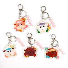 Аниме PUI PUI Molcar Guinea Pig Cute Animal Keychains Cartoon Double-Side Acrylic Key Ring Bag Charm Classic Kids Gift