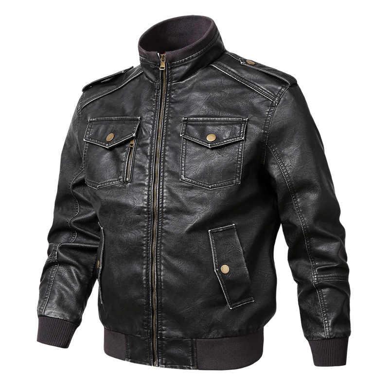 Мужская куртка из искусственной кожи, осенне-зимняя мотоциклетная байкерская куртка, пальто для мужчин 2019, пальто на молнии, многокарманная водонепроницаемая верхняя одежда, топы